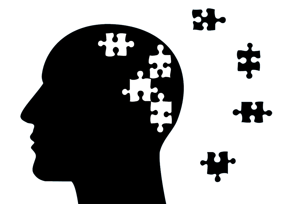 Alzheimer's and dementia: the figure of a person who has a broken puzzle as the brain