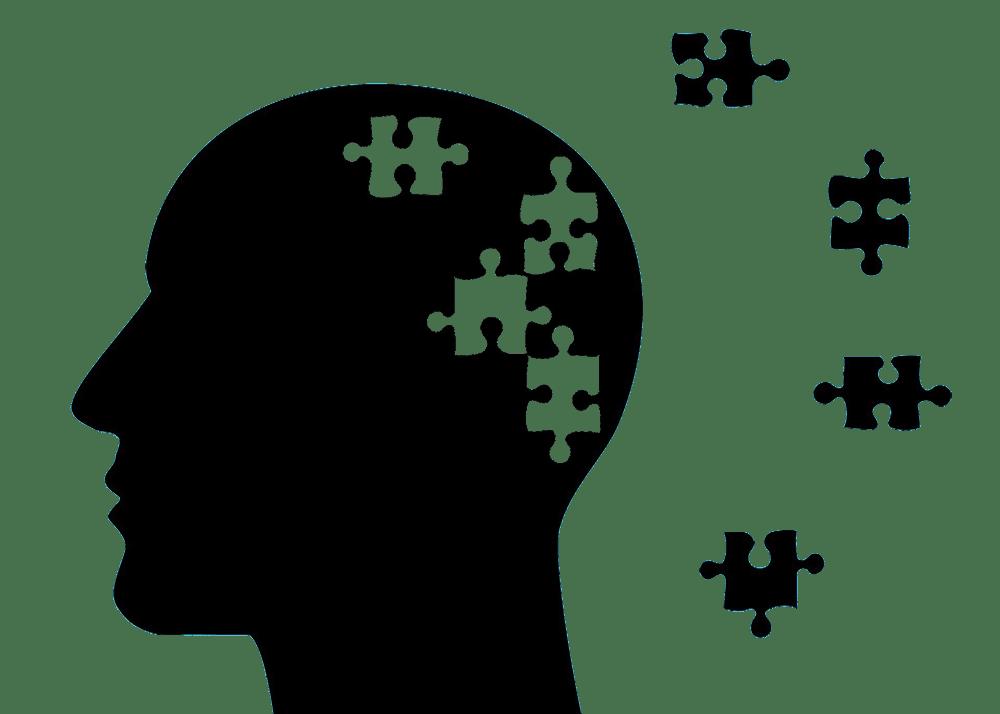 Alzheimer a demencja: postać osoby, która ma rozsypane puzzle jako mózg